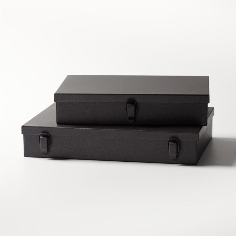 Italian Metal Storage Boxes Set of 2