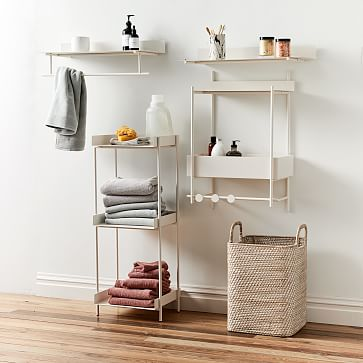 "Floating Lines Hanging Shelf, White, 24"""