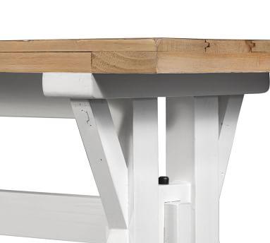 Hart Reclaimed Wood Dining Bench, Driftwood & Limestone White