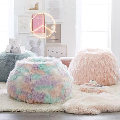 Unicorn Faux-Fur Bean Bag Chair Set, Large
