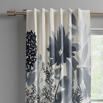 """Cotton Canvas Garden Corner Curtains, 48""""x96"""", Midnight"""