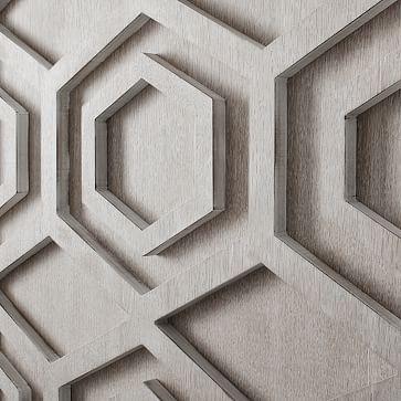 Graphic Wood Wall Art, White, Hexagon, Set of 2