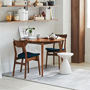 Classic Cafe Upholstered Dining Chair, Nightshade, Walnut, Set of 2