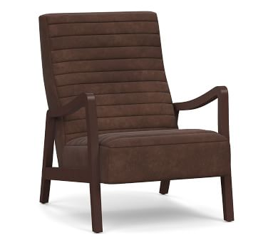 Walker Leather Armchair, Polyester Wrapped Cushions, Churchfield Camel