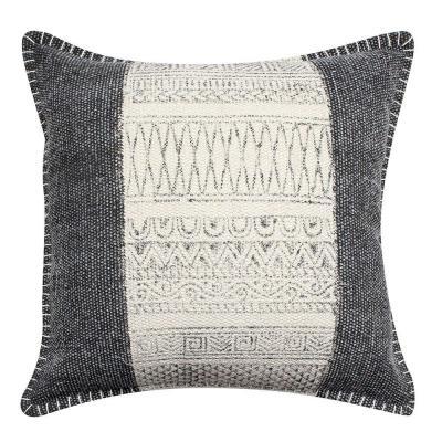 "Benjara White and Gray Block Print Hand Woven Cotton 18"" L x 18"" W Throw Pillow"
