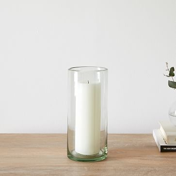 Pure Recycled Glass Hurricane, Wide Cylinder,