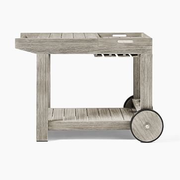 Portside Outdoor Bar Cart / Weathered Gray