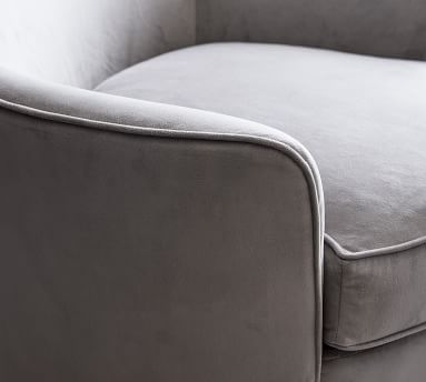 Larkin Upholstered Swivel Armchair, Polyester Wrapped Cushions, Brushed Crossweave Charcoal