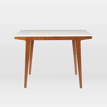 """Modern Expandable Dining Table, 60-80"""", White Lacquer, Pecan"""