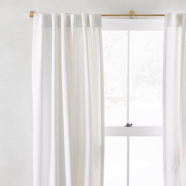 """Washed Cotton Canvas Curtain, Set of 2, 48""""x84"""", White"""