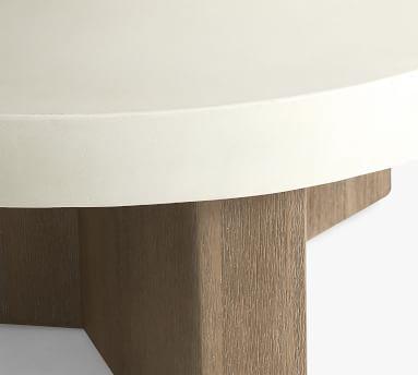 Pomona Concrete & FSC(R) Acacia Round Coffee Table, White Speckle & Gray