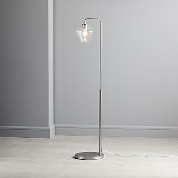Sculptural Floor Lamp, Geo Mini, Clear, Antique Brass