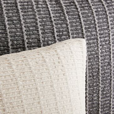 "Ladder Stripe Jacquard Pillow Cover, 20""x20"", Natural"