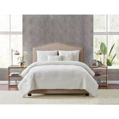 Style 212 Diamond Clipped Jacquard 5-Piece King Comforter Set, Tan