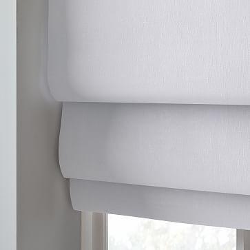 """European Linen Cordless Roman Shade, White, 48""""x64"""""""