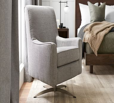 SoMa Isaac Upholstered Swivel Armchair, Polyester Wrapped Cushions, Sunbrella(R) Performance Sahara Weave Charcoal