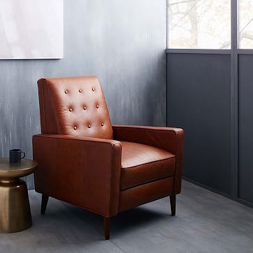 Rhys Midcentury Recliner, Ludlow Leather, Mace, Pecan