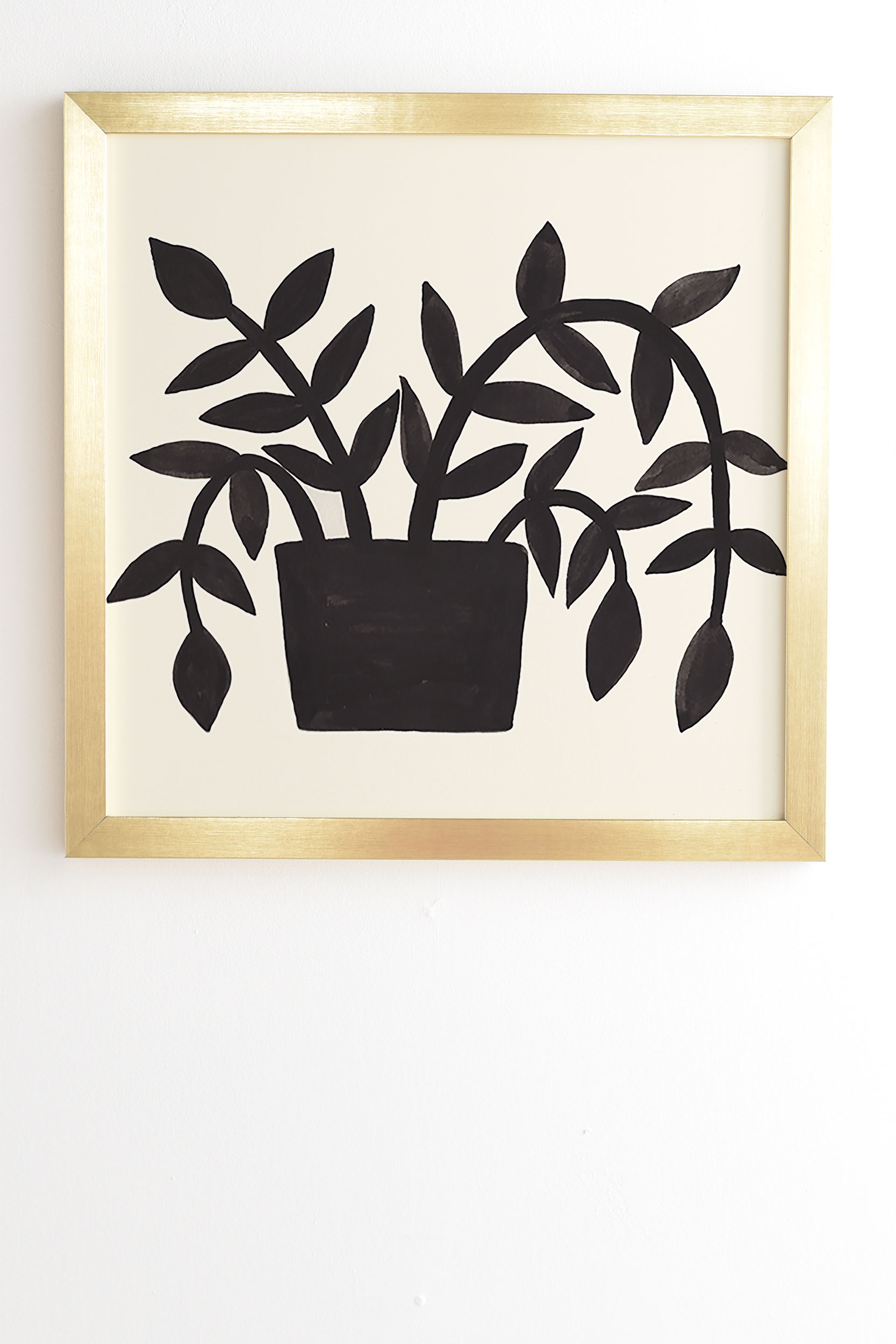 """Black Painted Plant by Pauline Stanley - Framed Wall Art Basic Gold 14"""" x 16.5"""""""