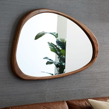 Mid Century Asymmetrical Wall Mirror, Acorn, UPS