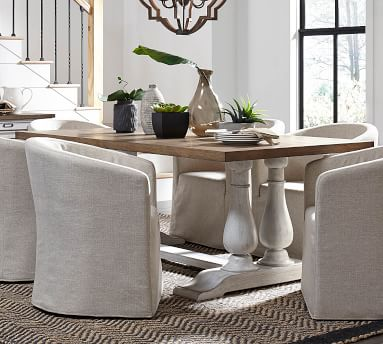 Rothley Dining Table, Distressed White Oak