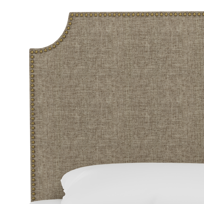 Hudson Bed, Full, Linen, Brass Nailheads