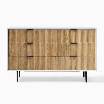 Quinn 6-Drawer Dresser, White and Rubberwood, Antique Bronze