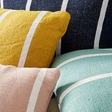 "Outdoor Simple Stripe Pillow, 20""x20"", Peacock"