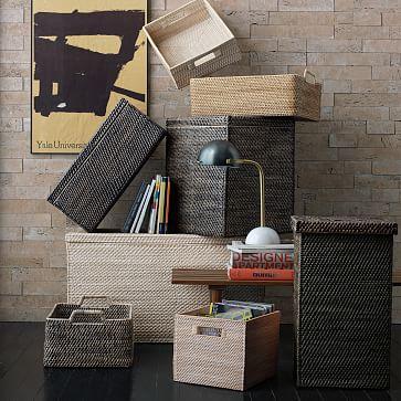 Modern Weave, Harvest Basket, Whitewash, Set of 2