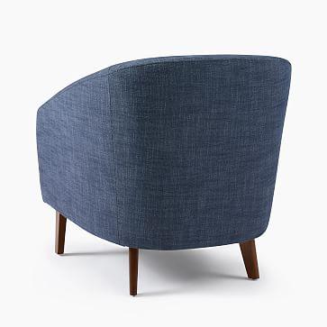Jonah Chair, Performance Velvet, Ink Blue, Pecan