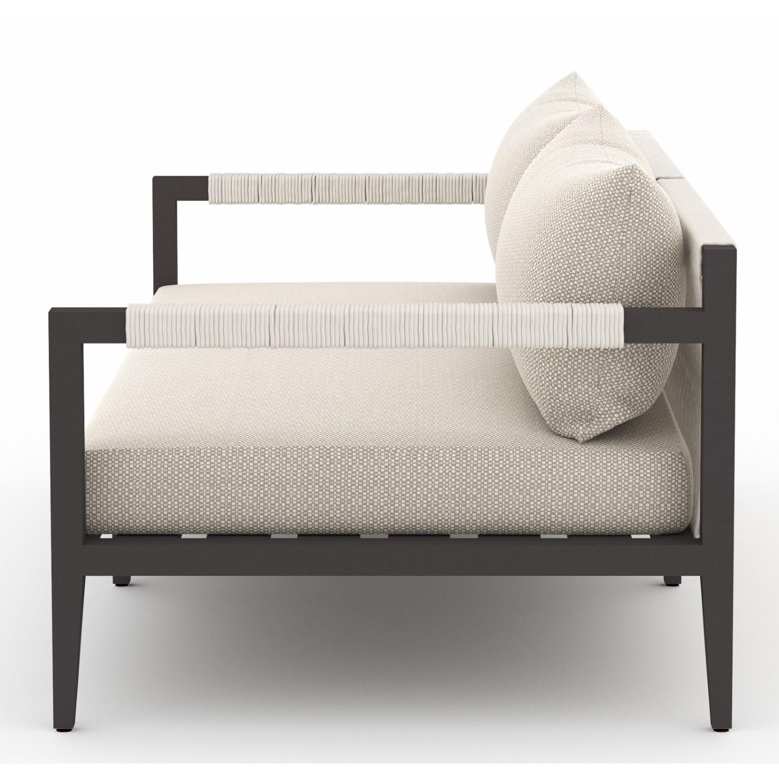 "Cheryl Modern Beige Cushion Black Aluminum Outdoor Sofa - 63"""
