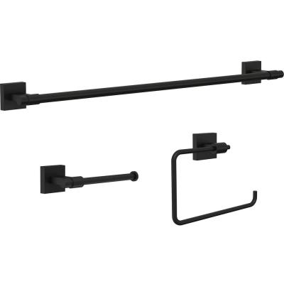 Franklin Brass Maxted 3-Piece Bath Hardware Set with Towel Ring, Toilet Paper Holder and 24 in. Towel Bar in Matte Black