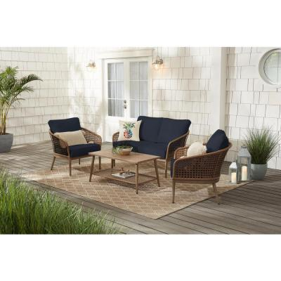 Hampton Bay Coral Vista 4-Piece Brown Wicker and Steel Patio Conversation Seating Set with CushionGuard Midnight Navy Blue Cushions