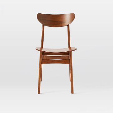 Classic Cafe Wood Dining Chair, Walnut, Set of 2