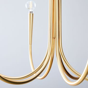 Swoop Arm Chandelier, Small Brass