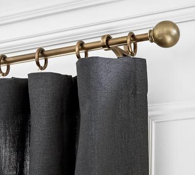 """Brass Curtain Rod & Wall Bracket, XX-Large, 1.25"""" diam."""
