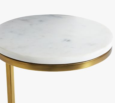 Delaney Round Marble C-Table, White Marble