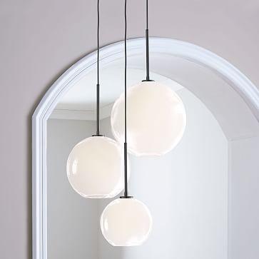 """Sculptural Glass 3-Light Globe Chandelier, 11"""", Milk Shade, Bronze Canopy"""