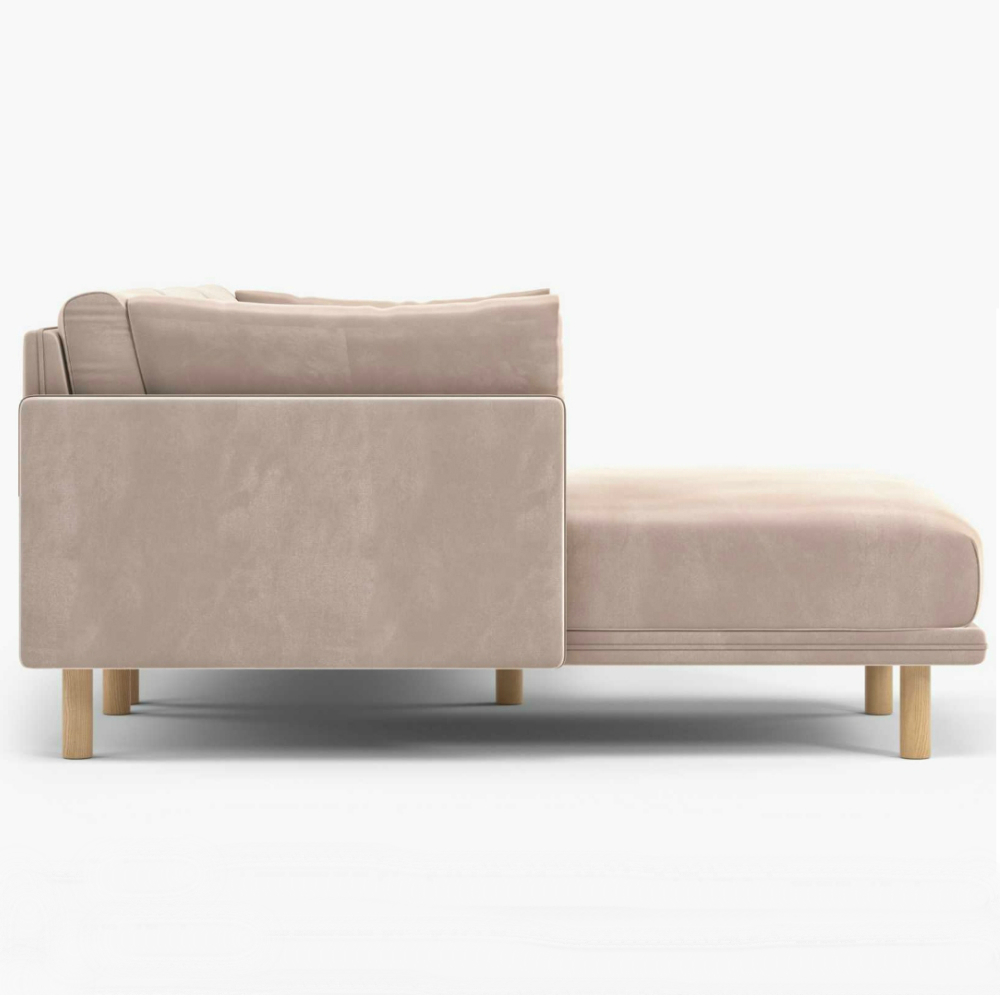 Rove Concepts Anderson Modern Classic Blush Pink Velvet Wood Sectional Sofa