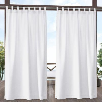 Amalgamated Textiles Biscayne Light Filtering 54 in. W x 96 in. L Tab Top Curtain Panel in White (2 Panels)