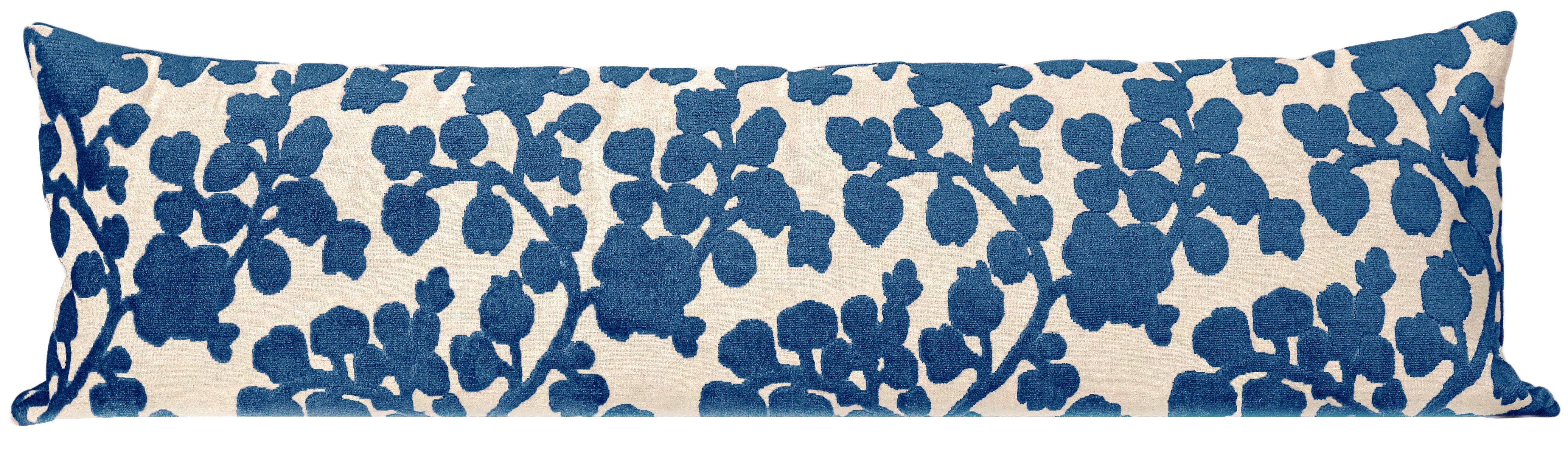 """The XL Lumbar :: Blossom Cut Velvet // Sapphire - 14"""" X 48"""""""