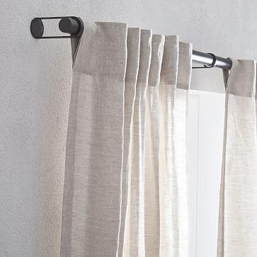 """Belgian Flax Linen + Luster Velvet Curtain, Natural + Stone 48""""x108"""""""