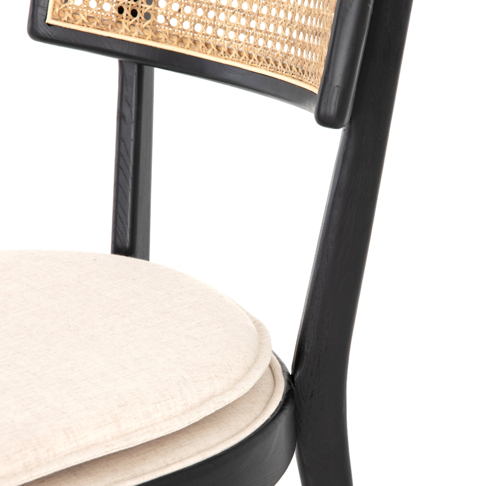Tina Modern White Performance Upholstered Seat Black Cane Dining Chair