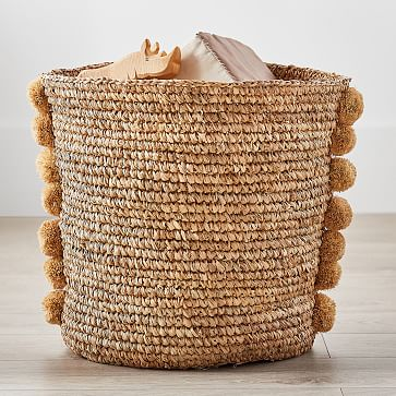 Natural Woven Pom Pom Storage, Large