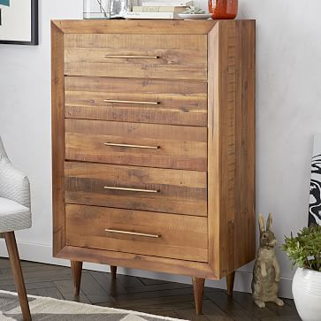 Alexa 5 Drawer Dresser, Light Honey