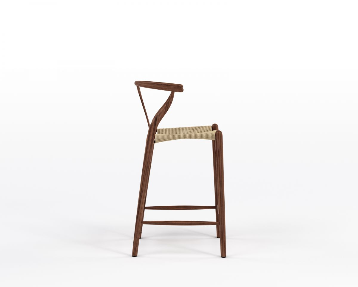 Wishbone Counter Stool - Walnut Stain Natural Seat Cord