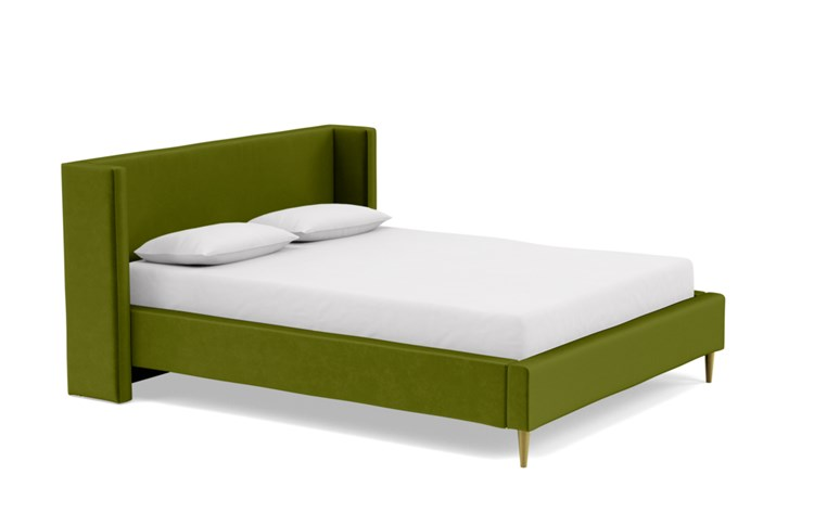 Oliver Queen Bed with Green Moss Fabric, low headboard, and Natural Oak with Antique Cap legs