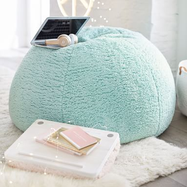 Cozy Sherpa Bean Bag Chair Set, Large, Turquoise