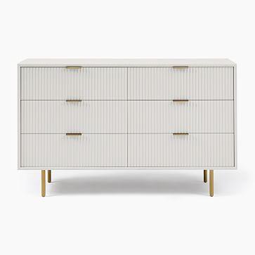 Quinn Lacquer 6-Drawer Dresser, Haze, Antique Brass