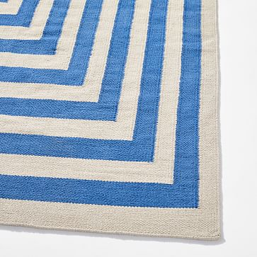 Margo Selby Stacked Strata Rug, 5'x8', Blue Ribbon