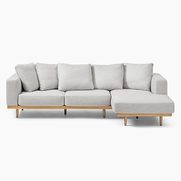 Newport Sectional Set 01: Left Arm Sofa, Right Arm Chaise Boxed Cushion, Down, Chenille Tweed, Storm Gray, Almond